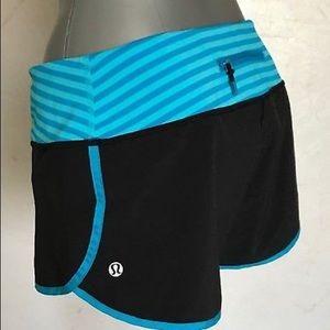 Lululemon Wet, Dry, Warm Speed Shorts Blue Stripe